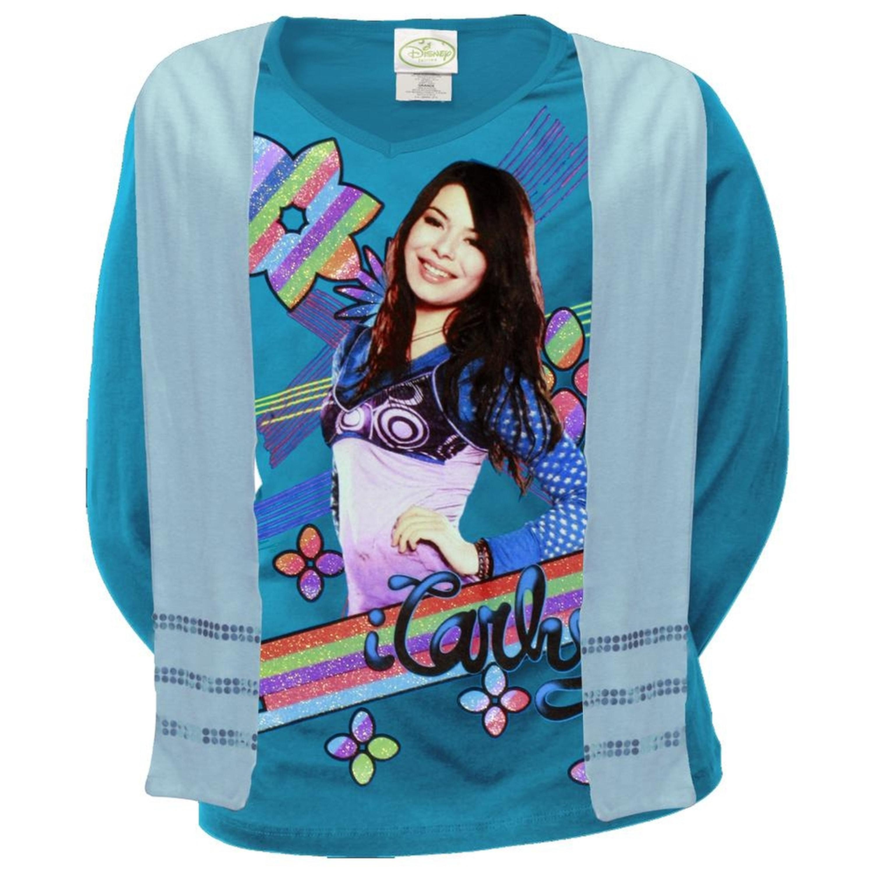 iCarly - Rainbow Stripe Girls Youth Long Sleeve T-Shirt w/ Scarf