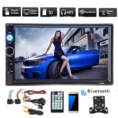 7 Inch 2 Din HD1080P Car MP5 Player Stereo Bluetooth MP5 Player Digital Touchscreen Radio FM Aux + Waterproof HD Night Light Rearview Camera (Digital Stereo Graphic)