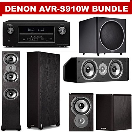 Denon AVR-S910W 7.2 Channel Full 4K Ultra HD A/V Receiver + A Polk Audio TSi Series Home Theater Speaker Package (TSi