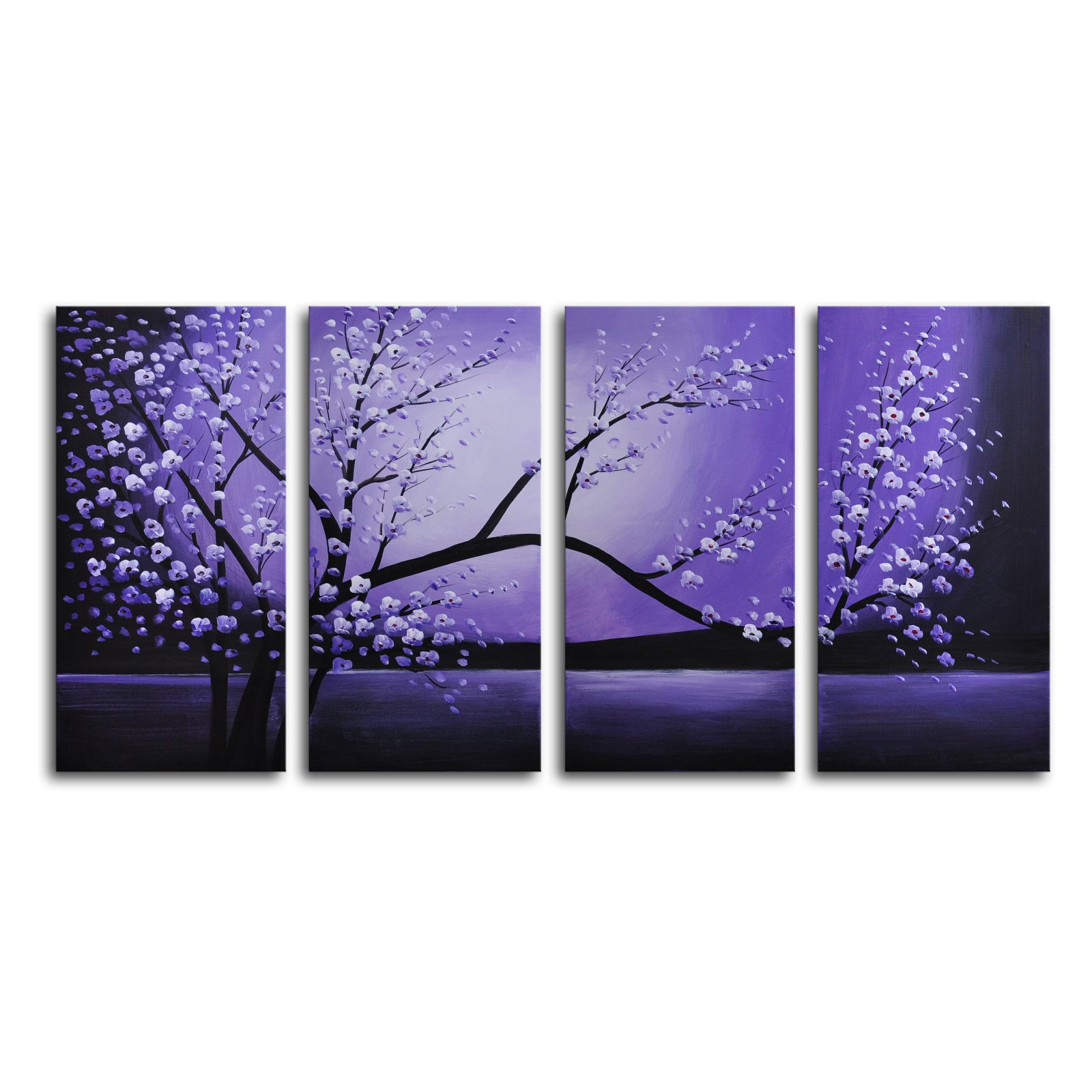 Winter Solstice 4-Piece Canvas Wall Artwork 48W x 24H in. by OMAX
