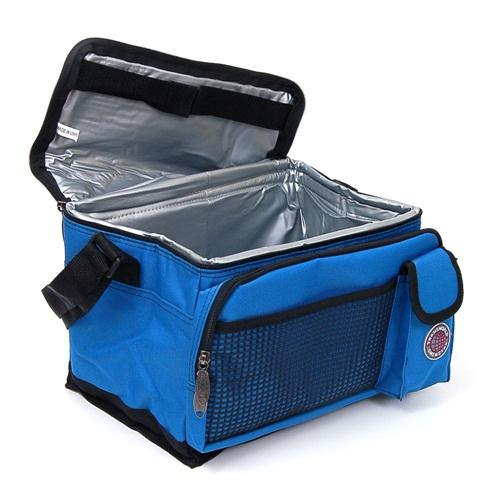 New Deluxe Lunch Bag Cooler Box Insulated Large Multiple Pockets Shoulder Strap Blue One Size