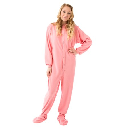 Big Feet Pajama Co Pink Micro-polar Fleece Adult Footed Pajamas w/ Drop Seat