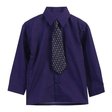 Little Boys Purple Tie Long Sleeve Button Special Occasion Dress Shirt -
