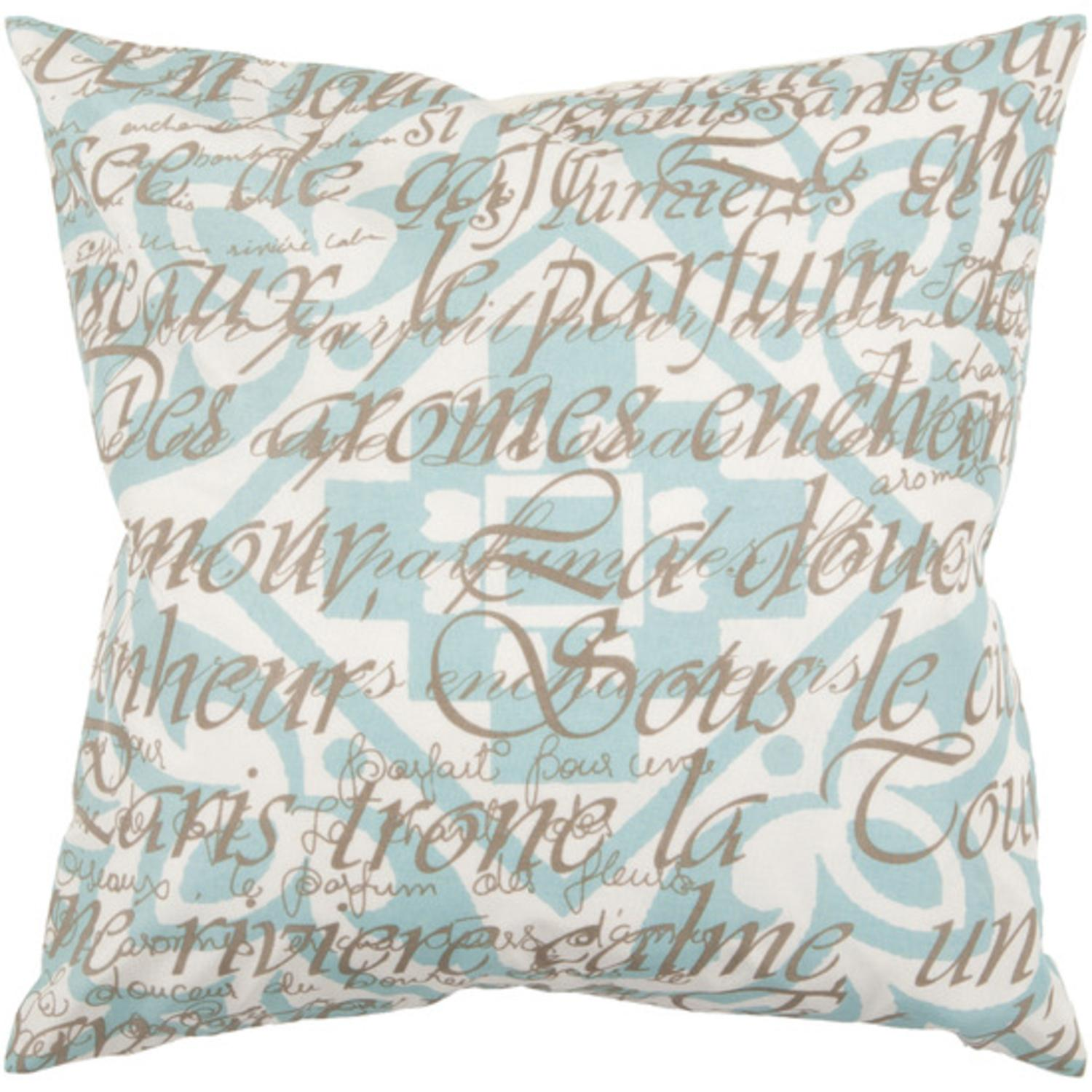 "18"" Sea Blue and Raw Umber Pattern with French Text Decorative Throw Pillow"
