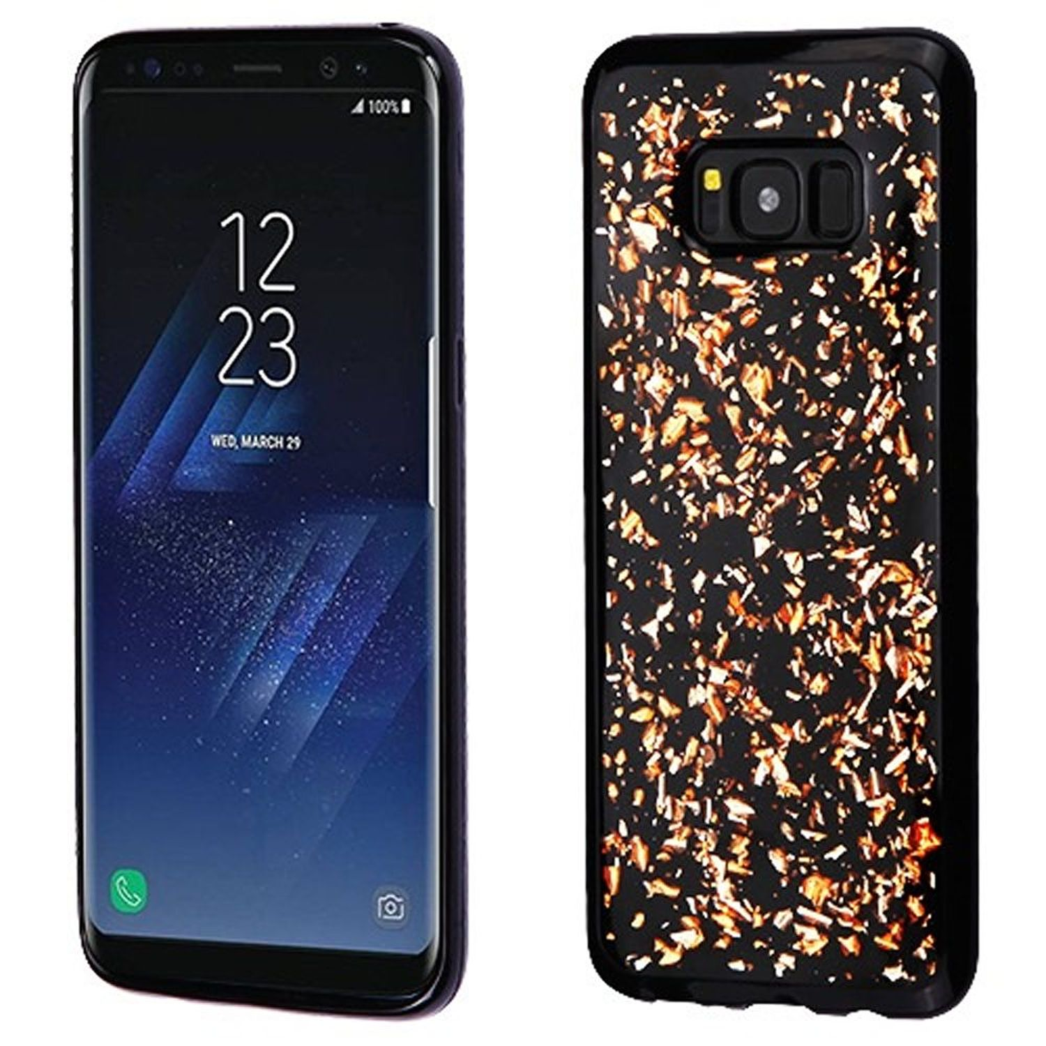 Insten Flakes Rubber TPU Case Phone Cover For Samsung Galaxy S8 Plus S8+, Rose Gold/Black