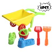6pc Kids Beach Toys Set Molds Tools, Sandbox Toys On Summer Beach Holiday