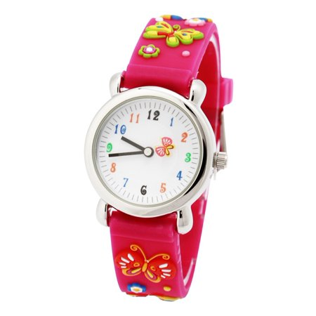 3D Lovely Cartoon Children Watch Silicone Strap Waterproof Digital Round Quartz Wristwatches Time Teacher Gift for Girls Pink-butterfly