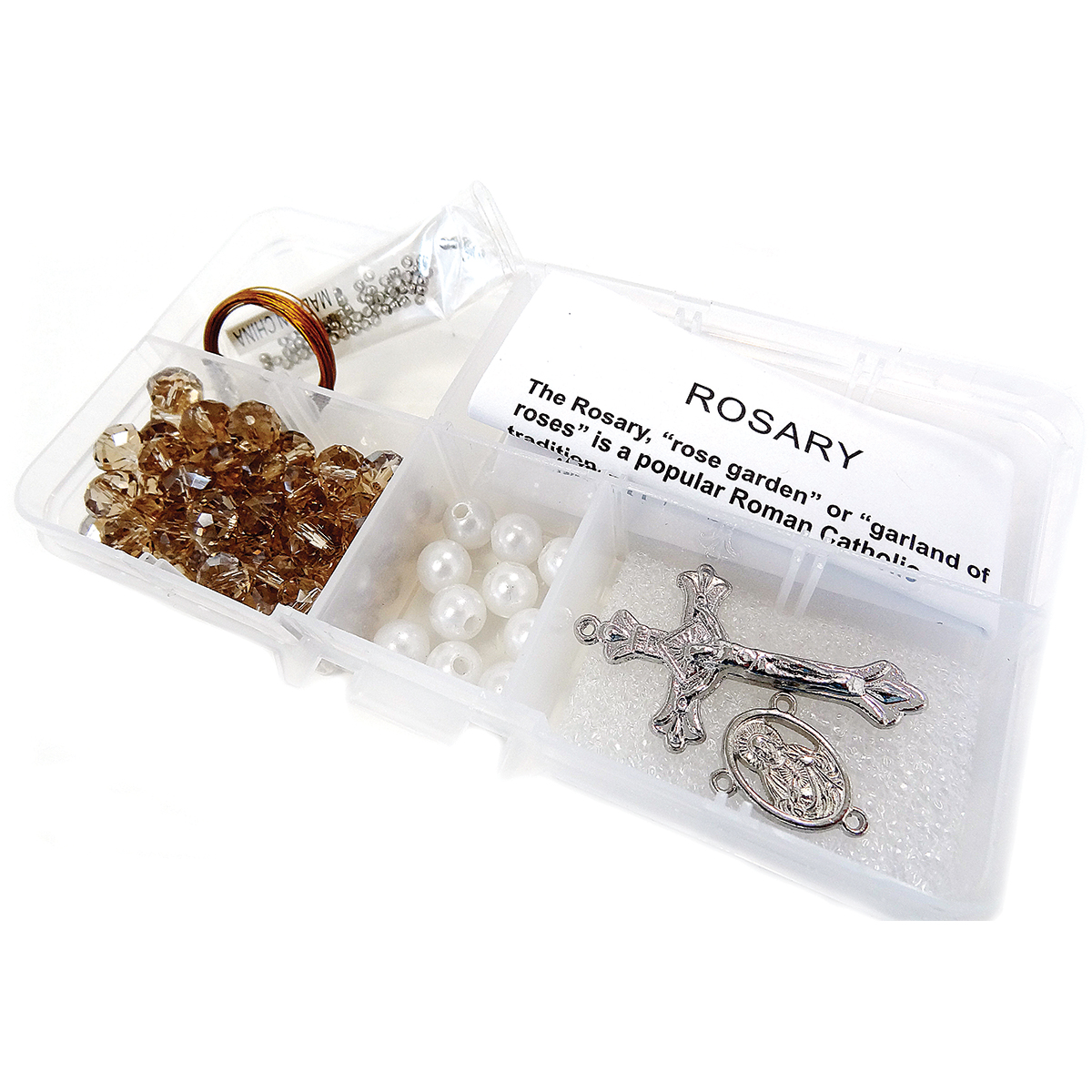 Crystal & Pearl Rosary Bead Kit-Smoky Crystal Beads & White Pearls
