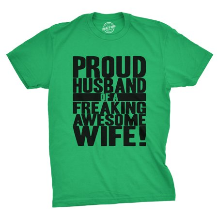 crazy dog tshirts - mens proud husband of a freaking awesome wife funny marriage t - Funny Husband And Wife Halloween Costumes