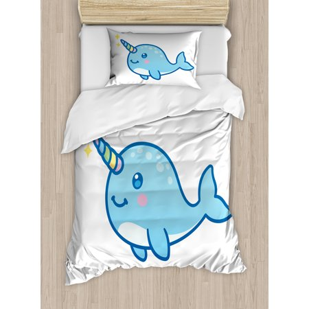 (Narwhal Twin Size Duvet Cover Set, Cartoon Drawing Style Whale with Rainbow Horn Unicorn of the Ocean Arctic Animal, Decorative 2 Piece Bedding Set with 1 Pillow Sham, Multicolor, by Ambesonne)