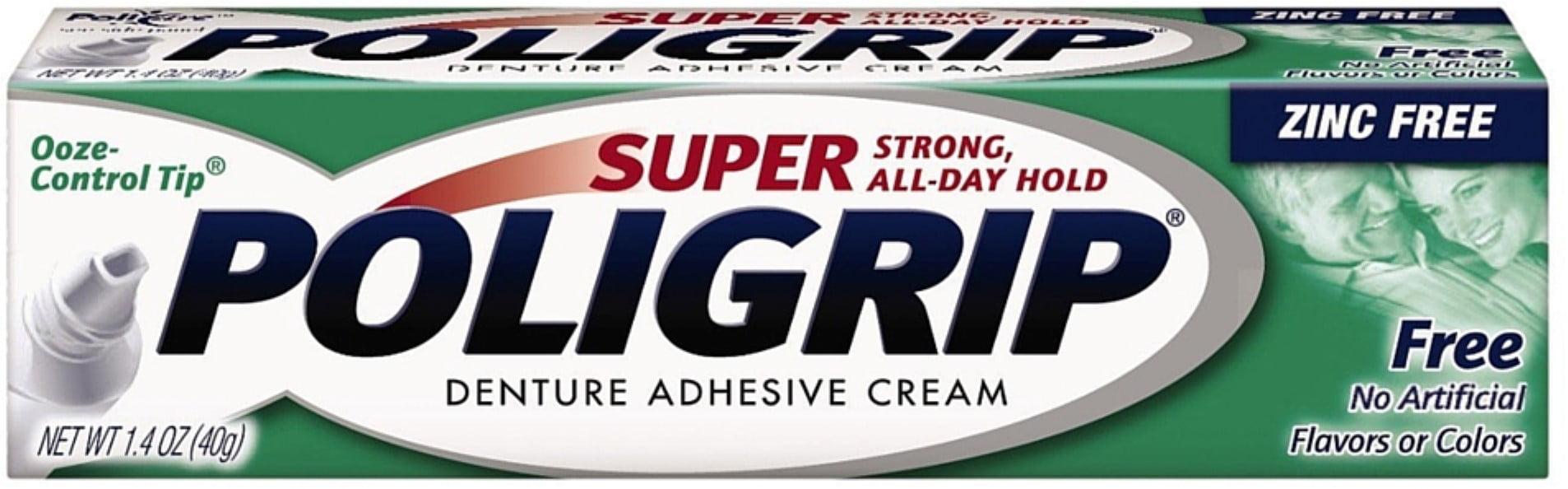 SUPER POLIGRIP Denture Adhesive Cream, No Artificial Flavor/Color ...