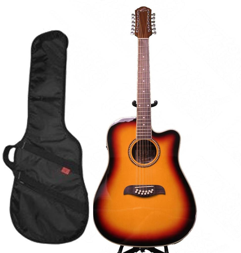 Oscar Schmidt 12 String A E Guitar & Kaces HD Padded Gig Bag, Sunburst, OD312CETS-KA312 by Oscar Schmidt