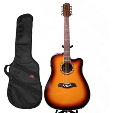 Oscar Schmidt 12 String A/E Guitar & Kaces HD Padded Gig Bag, Sunburst, OD312CETS-KA312 ()
