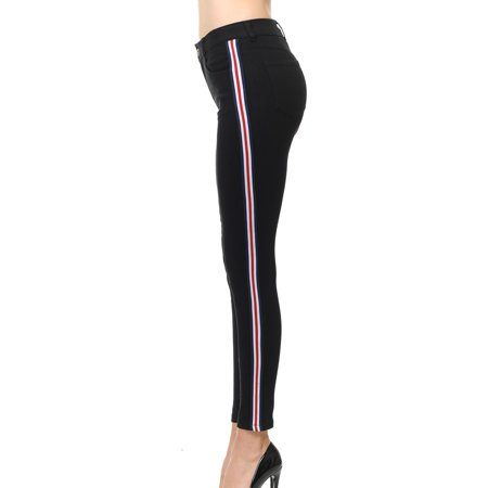 Juniors' Side Stripe Skinny Jeans (Spandex Striped Jeans)