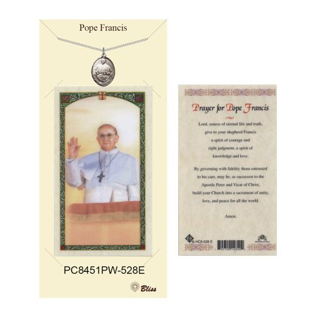 Pewter Pope Francis medal on a 18 inch Heavy Curb Chain with a Prayer to Pope Francis Prayer Card.