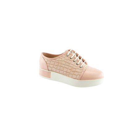 Liyu Adult Pink Croc Pattern Lace-Up Closure Cap-Toe Oxford Shoes