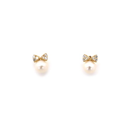 14k Yellow Or White Gold Freshwater Cultured Pearl Small Cz Bow Stud Earrings Child Safe Backs
