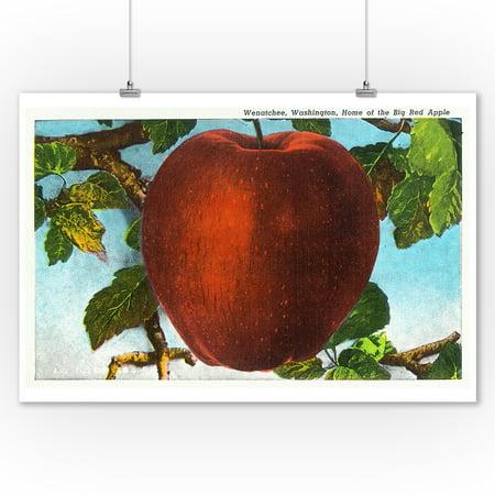 Wenatchee, Washington - Home of the Big Red Apple (9x12 Art Print, Wall Decor Travel (Apple Wall Art)