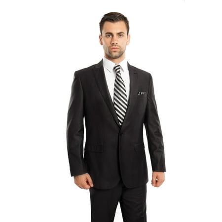 Mens Suit Two Piece One Button Peak Lapel Solid Suits (David Bowie Blue Suit)