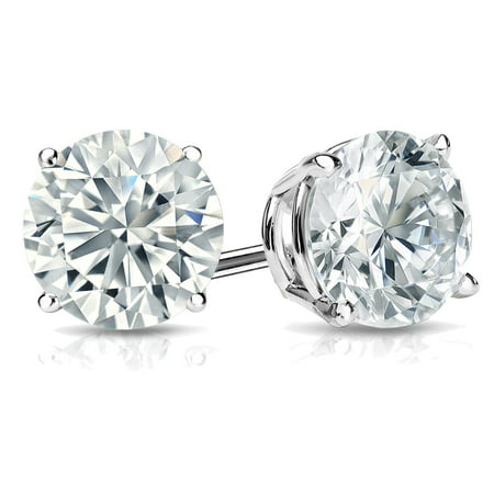 0.75ct Solitaire Diamond Stud Earrings 14k White Gold Screw Back (D Color VS1-VS2 Clarity) Vs1 Vs2 Earrings