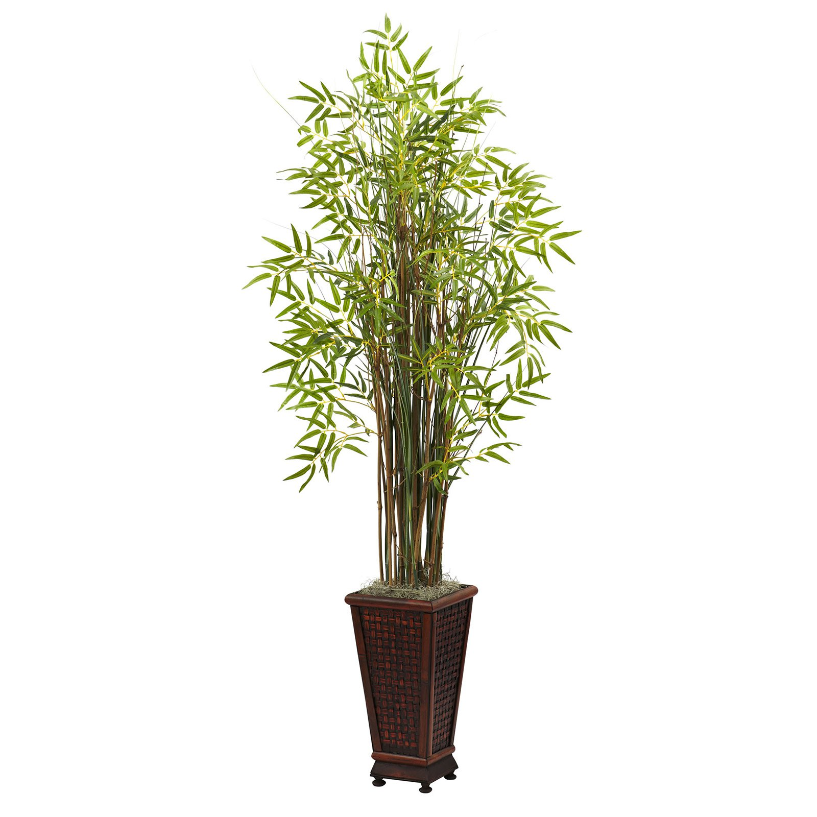 Nearly Natural 5-1/2' Grass Bamboo Plant with Decorative Planter