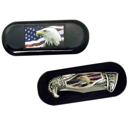 USA Flag & American Bald Eagle Head Shaped Folding Pocket Knife w/ Gift Box Case