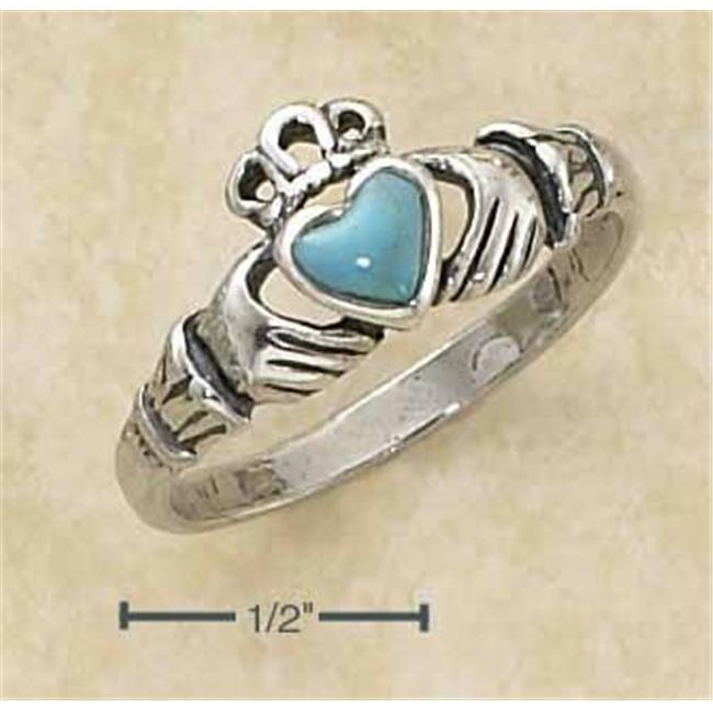 Sterling Silver Small Antiqued Claddagh Ring with Turquoise Heart - Size 9