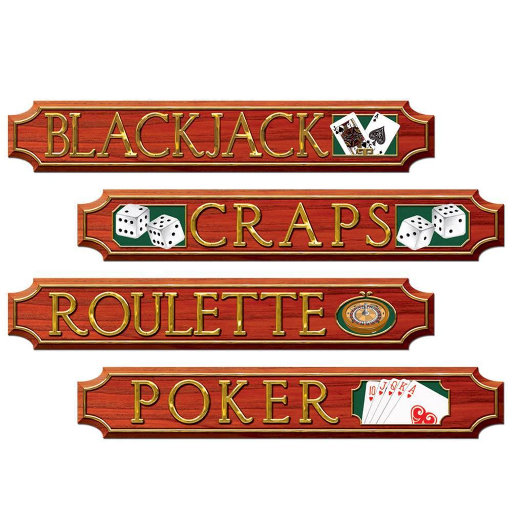 Casino Party Casino Sign Cutouts (Qty of 48)