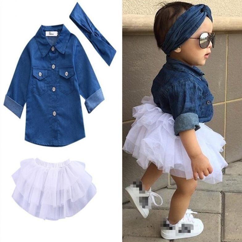 Toddler Kids Baby Girl Denim Tops Shirt+Tulle Tutu Skirt+Hairband 3PCS Dress Set