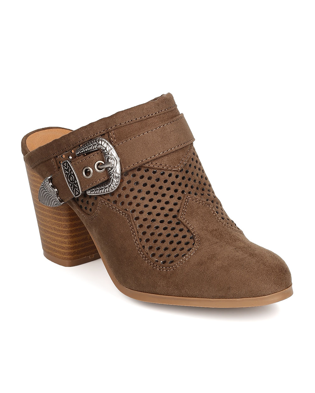 Women Faux Suede Perforated Buckled Chunky Heel Mule FD91