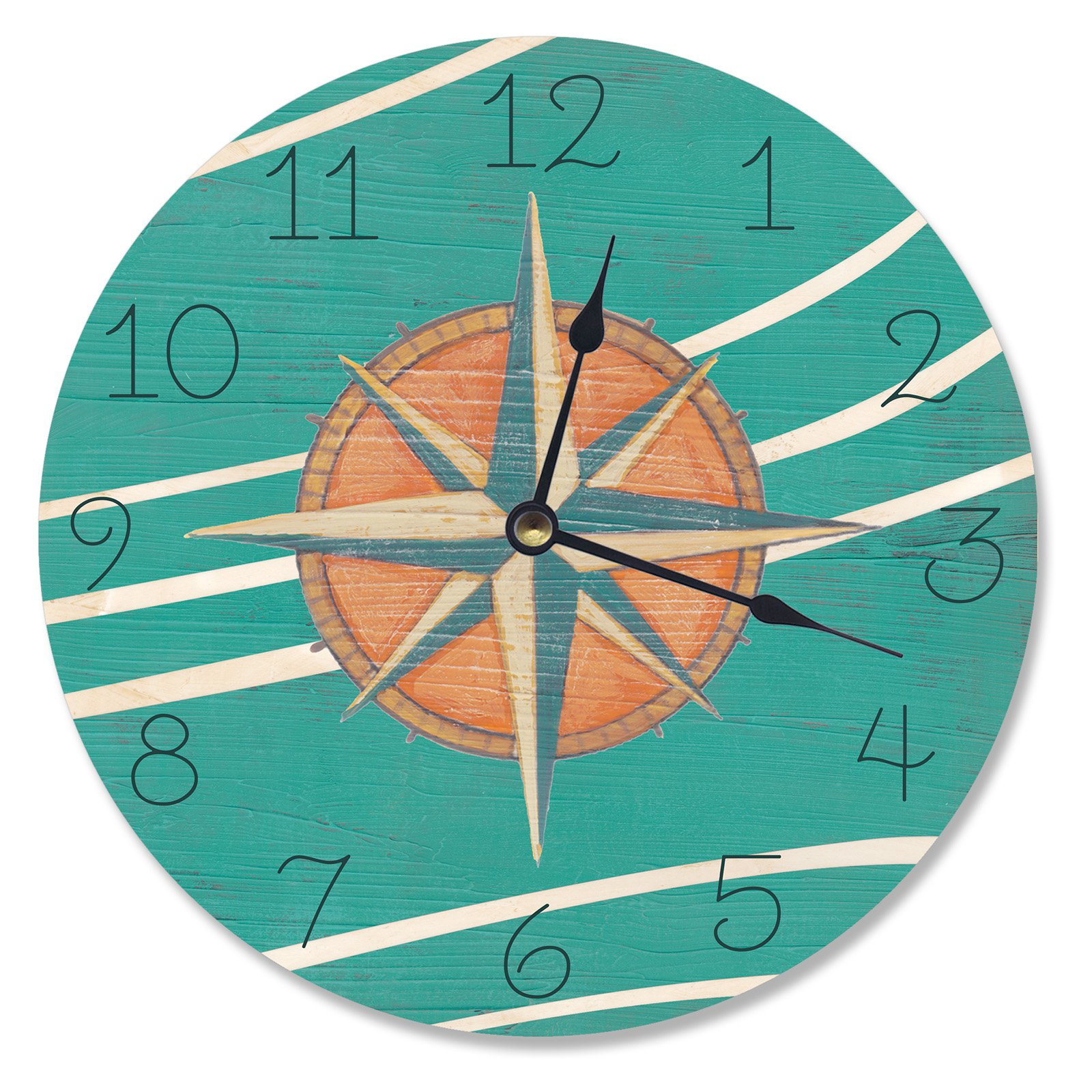 The Stupell Home Decor Collection 12 in. Teal and Coral Nautical Compass Vanity Wall Clock