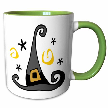 3dRose Halloween Cute Witches Hat - Two Tone Green Mug, 11-ounce](Cute Halloween Witches)