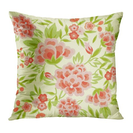 ECCOT Green Floral This is Traditionally Pattern Bright Colored Flowers Orange Leafs Tradition Pillowcase Pillow Cover Cushion Case 16x16 inch