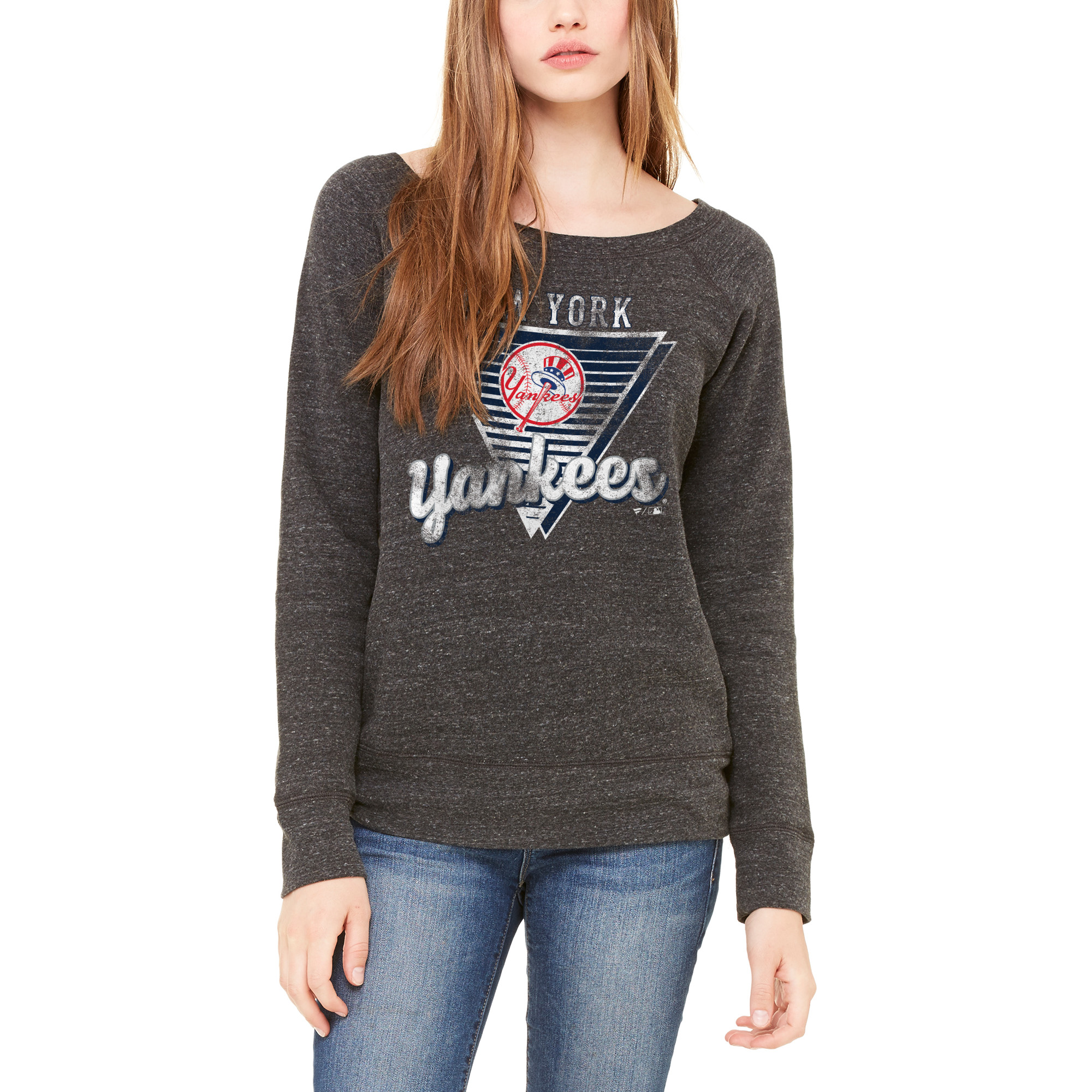 New York Yankees Let Loose by RNL Women's Eighty Something Wide Neck Sweatshirt - Charcoal
