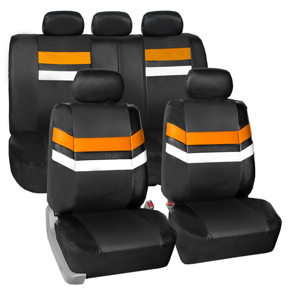 FH Group Varsity Spirit PU Leather Universal Fit Orange Car Seat Covers