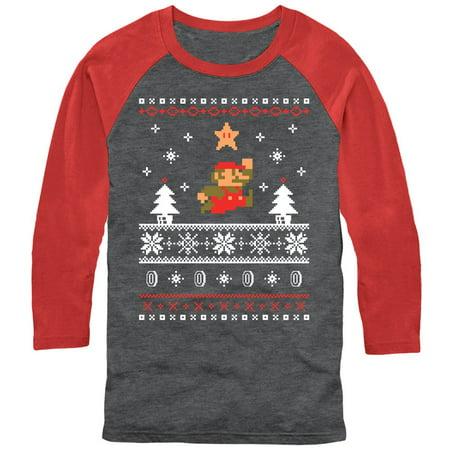 Nintendo Men's Mario Ugly Christmas Sweater Baseball Tee - Baseball Christmas