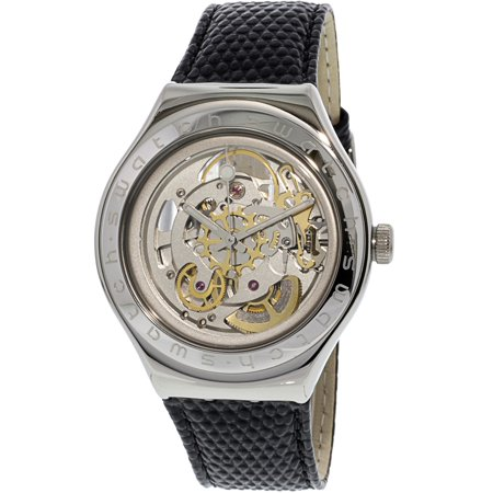 Silver Watch White Leather Belt (Swatch Men's Body And Soul YAS100D Silver Leather Automatic Fashion Watch)