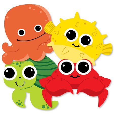 Under The Sea Critters-Octopus, Pufferfish, Sea Turtle and Crab Decorations DIY Birthday or Baby Shower Essentials-20 Ct