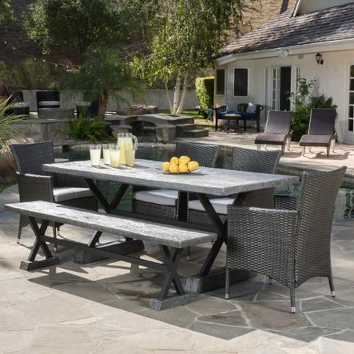 Rialto Outdoor Magnesium Oxide and Wicker Dining Set