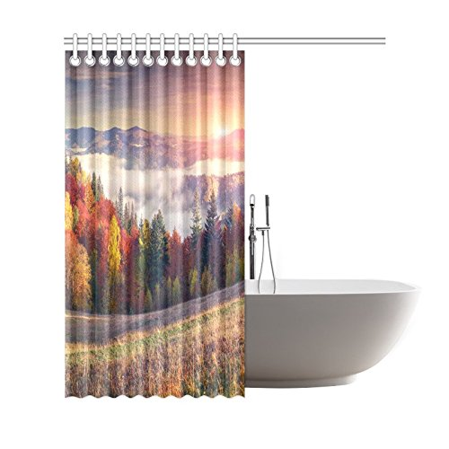 GCKG Colorful Autumn Shower Curtain, Mountain Sunrise Polyester Fabric Shower Curtain Bathroom Sets 66x72 Inches - image 2 of 3