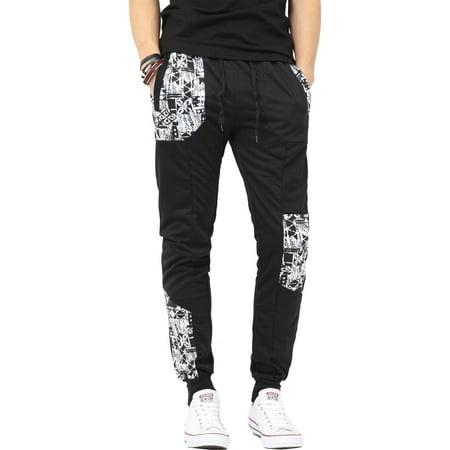 Fleece Mens Pants - Mens Jogger Pants with Pattern Fleece Comfort Active Sweatpants