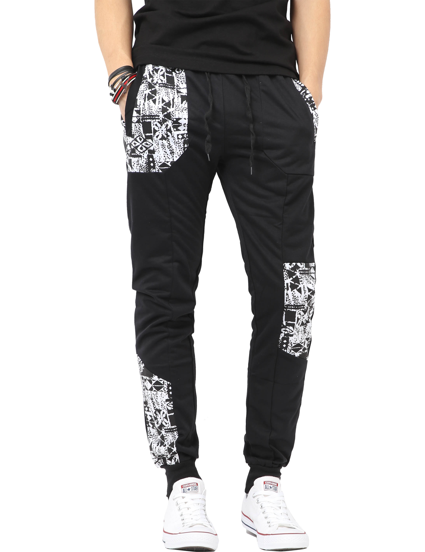 Mens Jogger Pants with Pattern Fleece Comfort Active Sweatpants