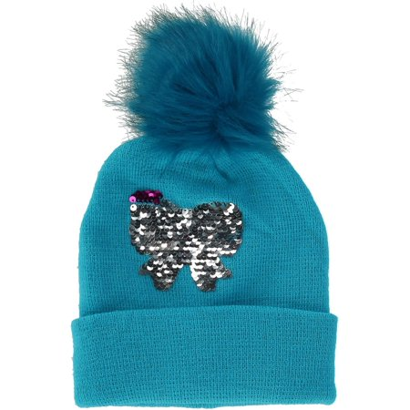 Girls' Sequins Cuff Beanie Hat with Pom