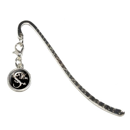 Asian Chinese Dragon - Black Metal Bookmark with Charm
