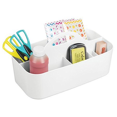 mdesign art supplies, crafts. crayons and sewing organizer tote - large, white (Craft Totes)