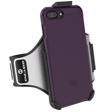 iPhone 7 Plus Armband Gym Kit, (Click-N-Go) Workout Armband + Sport Case (2 pc set) By Encased (Royal Purple)