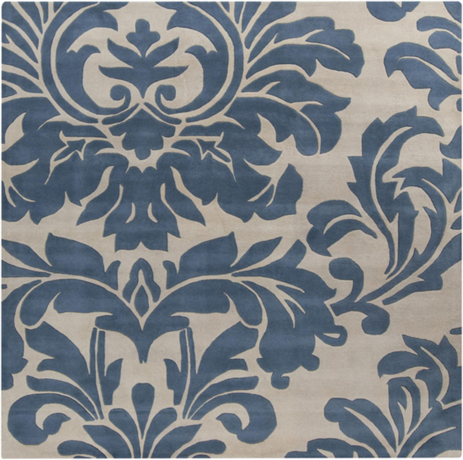 6' x 6' Falling Leaves Damask Slate Blue & Off-White Square Wool Area Throw Rug