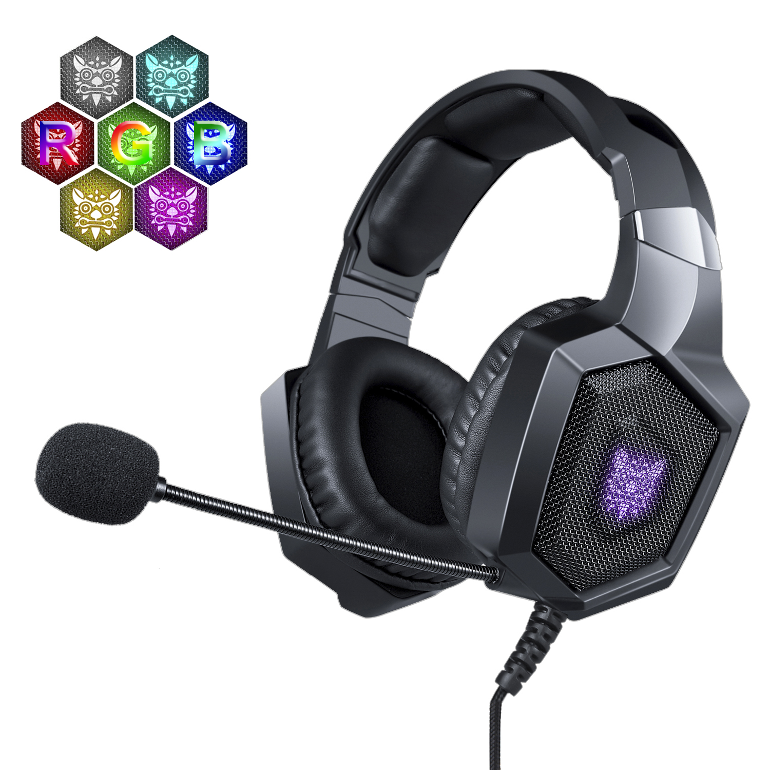 NERDI Stereo Gaming Headset Works On PS4/Xbox One/Nintendo Switch/PC/Mac/Laptop, Over Ear Headphones with Surround Sound,RGB LED Light & Noise Canceling Mic