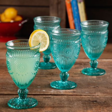 Green Glass Goblet - The Pioneer Woman Adeline Embossed 12oz Footed Glass Goblets, Set of 4