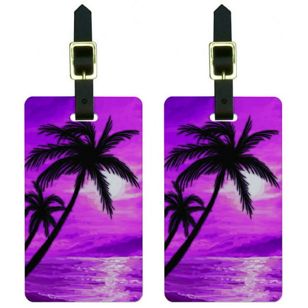 - Palm Trees And Sunset Pink Beach Tropical Ocean Luggage Tags ID, Set of 2